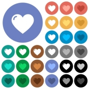 Heart shape multi colored flat icons on round backgrounds. Included white, light and dark icon variations for hover and active status effects, and bonus shades on black backgounds. - Heart shape round flat multi colored icons
