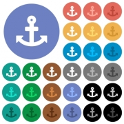 Anchor multi colored flat icons on round backgrounds. Included white, light and dark icon variations for hover and active status effects, and bonus shades on black backgounds. - Anchor round flat multi colored icons