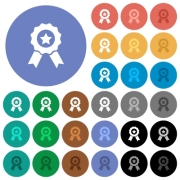 Award with ribbons multi colored flat icons on round backgrounds. Included white, light and dark icon variations for hover and active status effects, and bonus shades on black backgounds. - Award with ribbons round flat multi colored icons