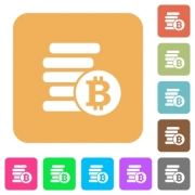 Bitcoins flat icons on rounded square vivid color backgrounds. - Bitcoins rounded square flat icons
