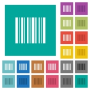 Barcode multi colored flat icons on plain square backgrounds. Included white and darker icon variations for hover or active effects. - Barcode square flat multi colored icons