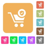 Secure shopping flat icons on rounded square vivid color backgrounds. - Secure shopping rounded square flat icons