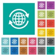 International multi colored flat icons on plain square backgrounds. Included white and darker icon variations for hover or active effects. - International square flat multi colored icons