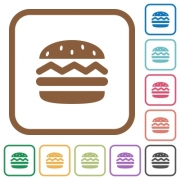 Hamburger simple icons in color rounded square frames on white background - Hamburger simple icons
