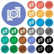 Israeli new Shekel coins multi colored flat icons on round backgrounds. Included white, light and dark icon variations for hover and active status effects, and bonus shades on black backgounds. - Israeli new Shekel coins round flat multi colored icons