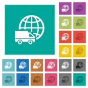 International transport multi colored flat icons on plain square backgrounds. Included white and darker icon variations for hover or active effects. - International transport square flat multi colored icons