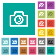 Camera multi colored flat icons on plain square backgrounds. Included white and darker icon variations for hover or active effects. - Camera square flat multi colored icons