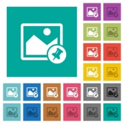Pin image multi colored flat icons on plain square backgrounds. Included white and darker icon variations for hover or active effects. - Pin image square flat multi colored icons