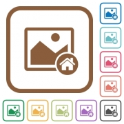 Default image simple icons in color rounded square frames on white background - Default image simple icons