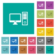 Desktop computer multi colored flat icons on plain square backgrounds. Included white and darker icon variations for hover or active effects. - Desktop computer square flat multi colored icons