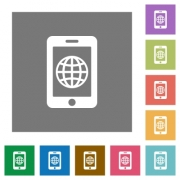 Mobile internet flat icons on simple color square backgrounds - Mobile internet square flat icons