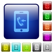 Incoming mobile call icons in rounded square color glossy button set - Incoming mobile call color square buttons