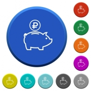 Ruble piggy bank round color beveled buttons with smooth surfaces and flat white icons - Ruble piggy bank beveled buttons