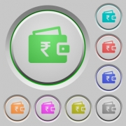 Indian Rupee wallet color icons on sunk push buttons - Indian Rupee wallet push buttons