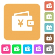 Yen wallet flat icons on rounded square vivid color backgrounds. - Yen wallet rounded square flat icons