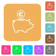 Euro piggy bank flat icons on rounded square vivid color backgrounds. - Euro piggy bank rounded square flat icons