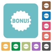 Bonus sticker white flat icons on color rounded square backgrounds - Bonus sticker rounded square flat icons