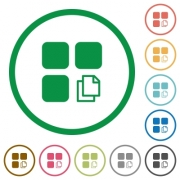 Copy component flat color icons in round outlines on white background - Copy component flat icons with outlines