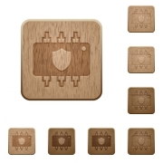 Hardware protection on rounded square carved wooden button styles - Hardware protection wooden buttons
