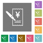 Signing Yen cheque flat icons on simple color square backgrounds - Signing Yen cheque square flat icons