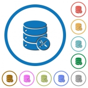 Database cut flat color vector icons with shadows in round outlines on white background - Database cut icons with shadows and outlines