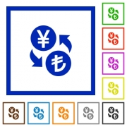 Yen Lira money exchange flat color icons in square frames on white background - Yen Lira money exchange flat framed icons