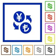 Yen Lira money exchange flat color icons in square frames on white background - Yen Lira money exchange flat framed icons