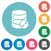 Expand database flat white icons on round color backgrounds - Expand database flat round icons