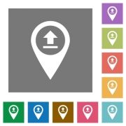Upload GPS map location flat icons on simple color square backgrounds - Upload GPS map location square flat icons
