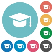 Graduate cap flat white icons on round color backgrounds - Graduate cap flat round icons