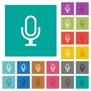 Microphone multi colored flat icons on plain square backgrounds. Included white and darker icon variations for hover or active effects. - Microphone square flat multi colored icons