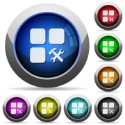 Component tools icons in round glossy buttons with steel frames - Component tools round glossy buttons