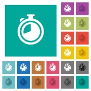 Timer multi colored flat icons on plain square backgrounds. Included white and darker icon variations for hover or active effects. - Timer square flat multi colored icons