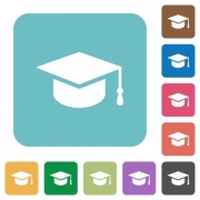 Graduate cap white flat icons on color rounded square backgrounds - Graduate cap rounded square flat icons