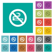 No smoking sign multi colored flat icons on plain square backgrounds. Included white and darker icon variations for hover or active effects. - No smoking sign square flat multi colored icons