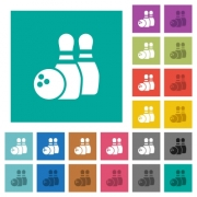 Bowling multi colored flat icons on plain square backgrounds. Included white and darker icon variations for hover or active effects. - Bowling square flat multi colored icons