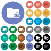 Directory creation time multi colored flat icons on round backgrounds. Included white, light and dark icon variations for hover and active status effects, and bonus shades on black backgounds. - Directory creation time round flat multi colored icons