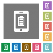 Mobile charging flat icons on simple color square backgrounds - Mobile charging square flat icons