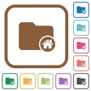 Home directory simple icons in color rounded square frames on white background - Home directory simple icons