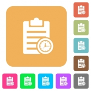 Note timer flat icons on rounded square vivid color backgrounds. - Note timer rounded square flat icons