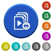 Print playlist round color beveled buttons with smooth surfaces and flat white icons - Print playlist beveled buttons