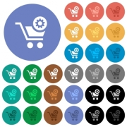 Cart settings multi colored flat icons on round backgrounds. Included white, light and dark icon variations for hover and active status effects, and bonus shades on black backgounds. - Cart settings round flat multi colored icons