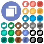 Overlapping elements multi colored flat icons on round backgrounds. Included white, light and dark icon variations for hover and active status effects, and bonus shades on black backgounds. - Overlapping elements round flat multi colored icons
