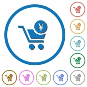 Checkout with Yen cart flat color vector icons with shadows in round outlines on white background - Checkout with Yen cart icons with shadows and outlines
