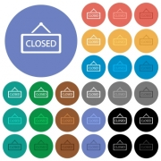 Closed sign multi colored flat icons on round backgrounds. Included white, light and dark icon variations for hover and active status effects, and bonus shades on black backgounds. - Closed sign round flat multi colored icons