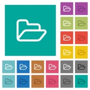 Open folder multi colored flat icons on plain square backgrounds. Included white and darker icon variations for hover or active effects. - Open folder square flat multi colored icons
