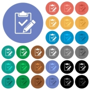 Fill out checklist multi colored flat icons on round backgrounds. Included white, light and dark icon variations for hover and active status effects, and bonus shades on black backgounds. - Fill out checklist round flat multi colored icons