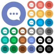 Working chat multi colored flat icons on round backgrounds. Included white, light and dark icon variations for hover and active status effects, and bonus shades on black backgounds. - Working chat round flat multi colored icons