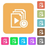 Playlist playing time flat icons on rounded square vivid color backgrounds. - Playlist playing time rounded square flat icons