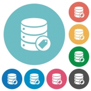 Database tag flat white icons on round color backgrounds - Database tag flat round icons